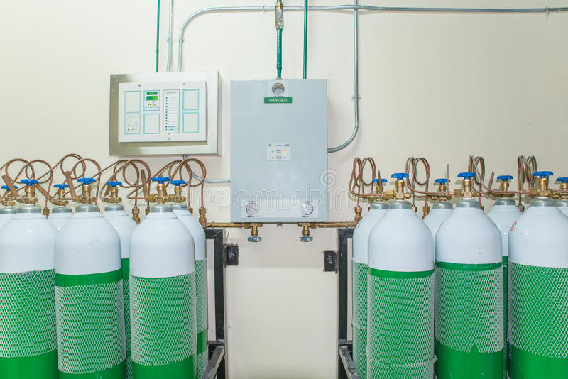 Medical Oxygen Tank in Hospital control room.  stock photography