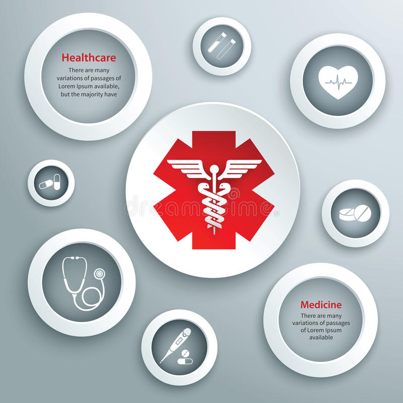 Medical paper symbols. Medical emergency services paper symbols set with capsule stethoscope and healthcare icon isolated vector illustration royalty free illustration