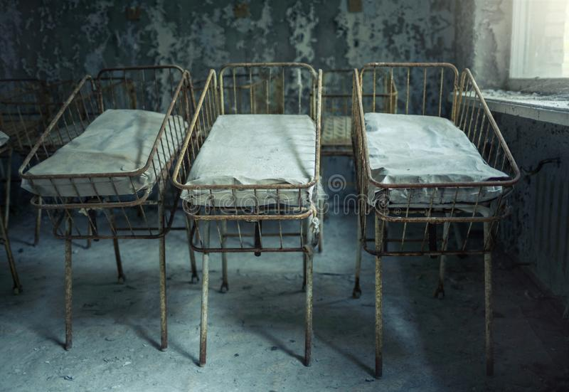 Medical part number 126 of the city of Pripyat. Maternity ward stock images