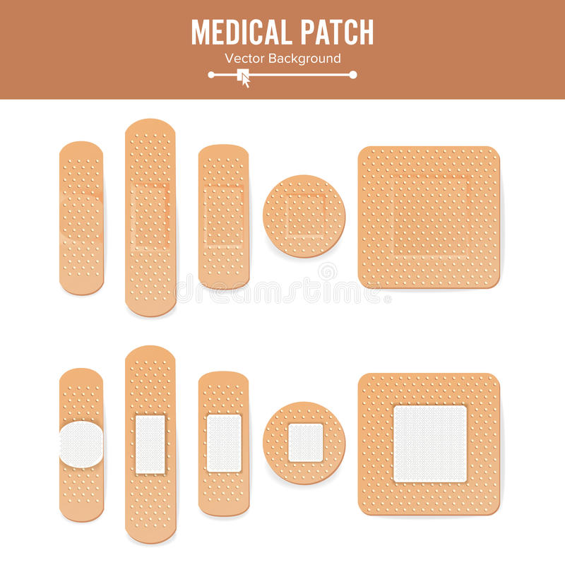Medical Patch Vector. Two Sides. Adhesive Waterproof Aid Band Plaster Strips Varieties Icons Collection. Realistic. Illustration Isolated On White royalty free illustration