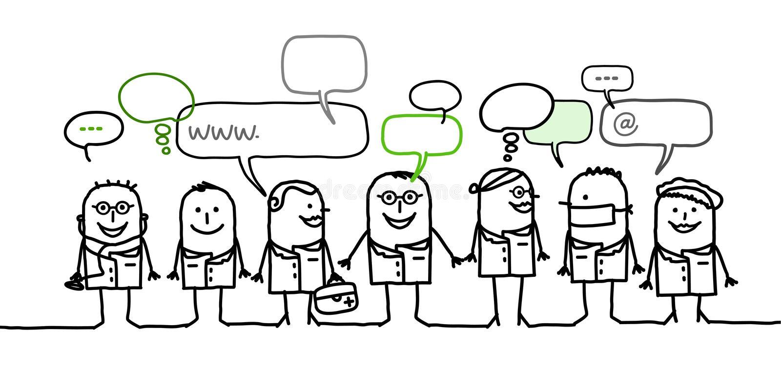 Medical people & social network. Hand drawn cartoon characters - medical people & social network royalty free illustration