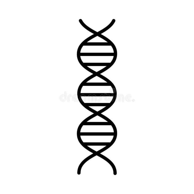 Medical pharmaceutical abstract dna gene helix, simple black and white icon on white background. Vector illustration vector illustration