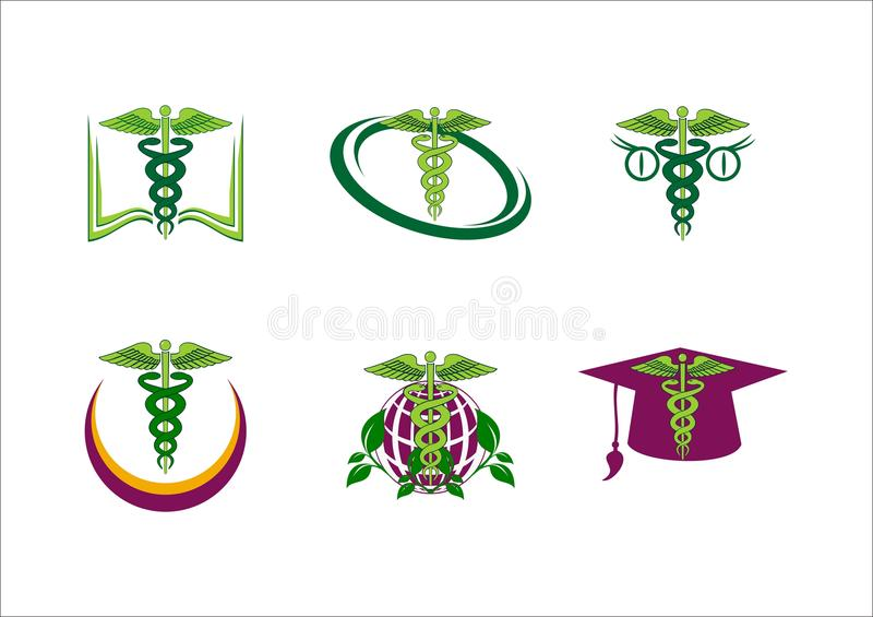 Medical pharmaceutical education vector logo. Icon stock illustration
