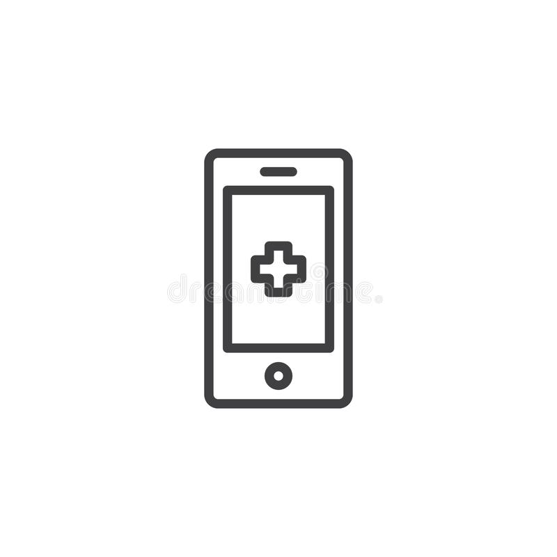Medical phone line icon. Outline vector sign, linear style pictogram isolated on white. Mobile medicine symbol, logo illustration. Editable stroke stock illustration