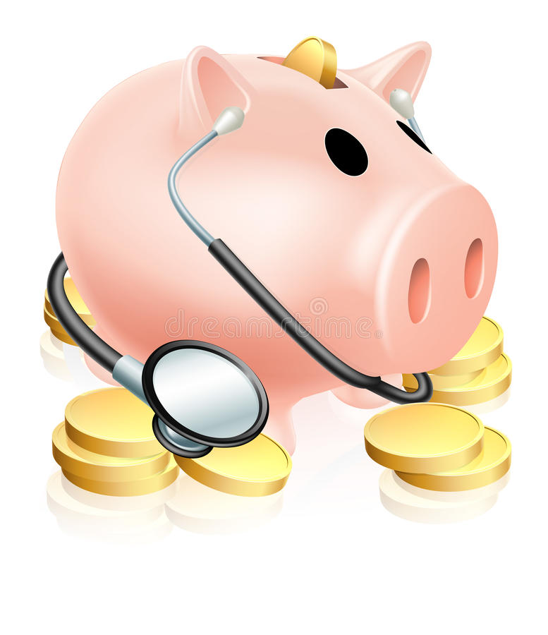 Medical Piggy Bank Concept. An illustration of a piggy bank wearing a stethoscope with gold coins. Concept for health insurance, healthcare costs or a financial stock illustration