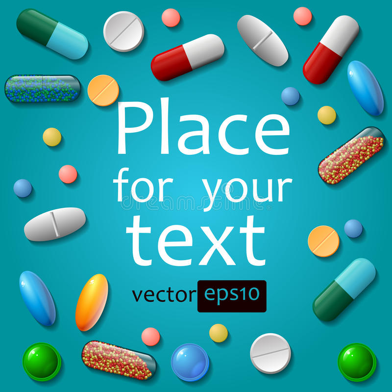 Medical pills on blue background stock images