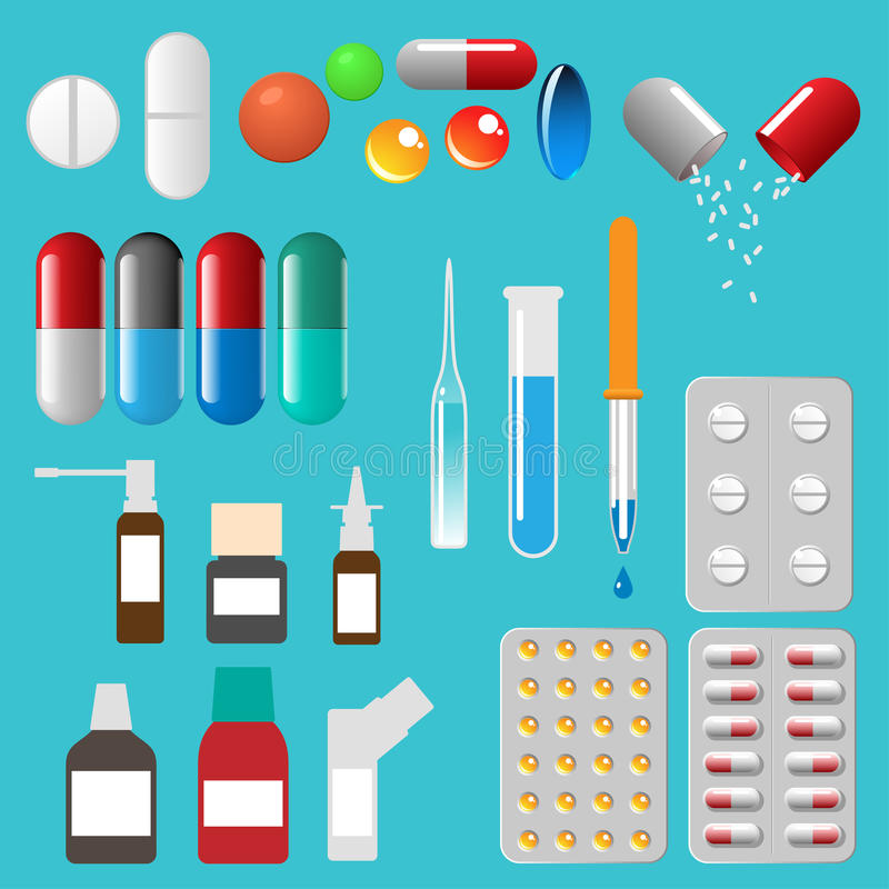 Medical pills capsules and other. Vector elements vector illustration