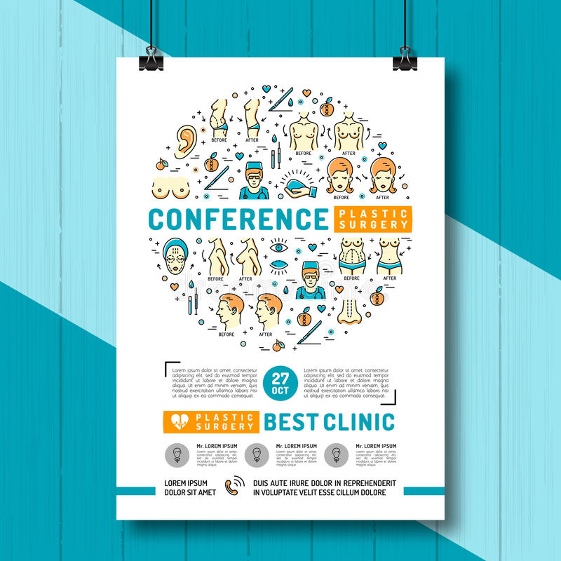 Medical poster of the conference and exhibition of Plastic Surgery royalty free illustration