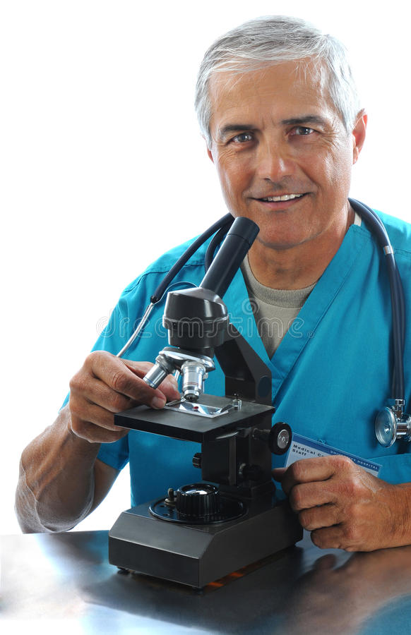 Download Medical Professional With Microscope Stock Photo - Image: 20503410