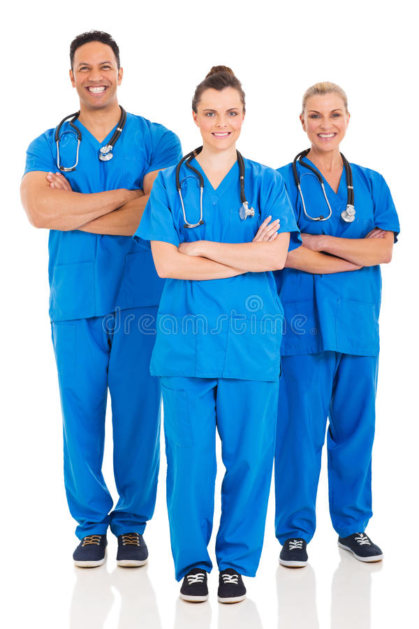 Medical professionals portrait. Group of medical professionals full length portrait on white stock photo