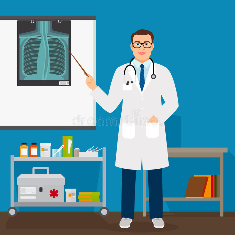 Medical professor checking lungs x-ray film. Vector illustration royalty free illustration