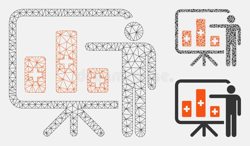 Medical Public Report Vector Mesh Wire Frame Model and Triangle Mosaic Icon. Mesh medical public report model with triangle mosaic icon. Wire frame polygonal royalty free illustration