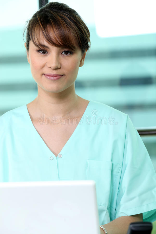Medical receptionist. Portrait of a medical receptionist royalty free stock photography