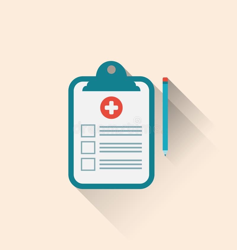 Free Medical Record Clipboard And Pencil With Long Shadows Royalty Free Stock Image - 47919966