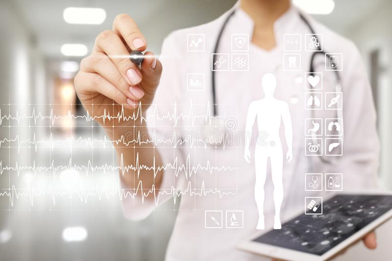 Medical record diagram on virtual screen concept. Health monitoring application. Medical record diagram on virtual screen concept. Health monitoring application stock image