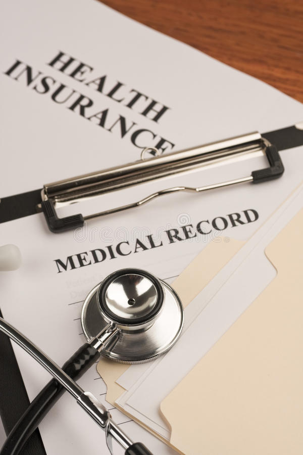Medical record & health insurance royalty free stock photos