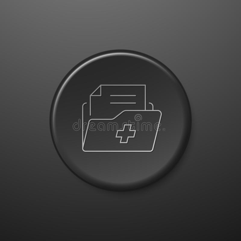Medical Record Line Icon. Black Push-Button vector illustration