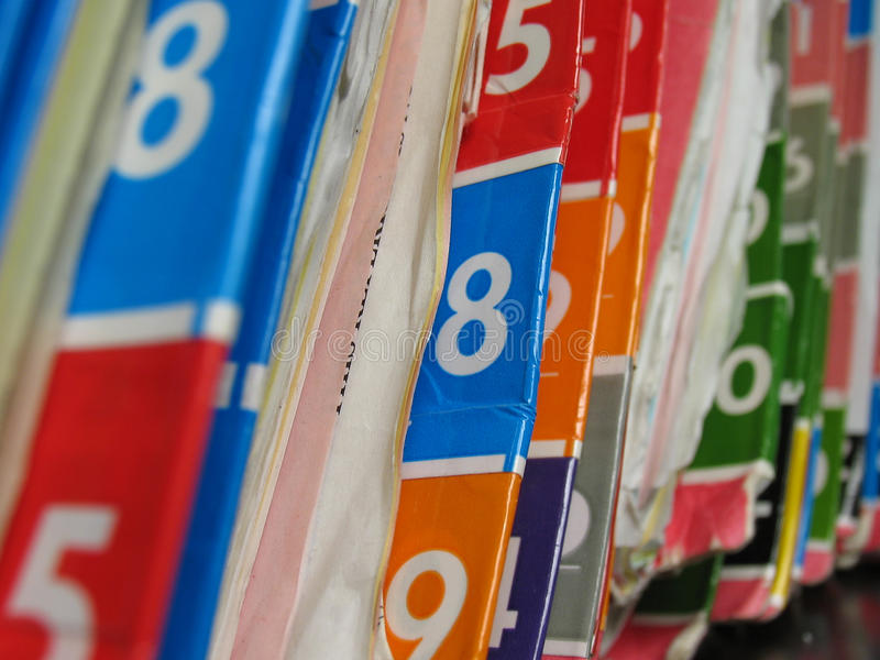 Medical records. Numbered medical records folders on the shelf royalty free stock images