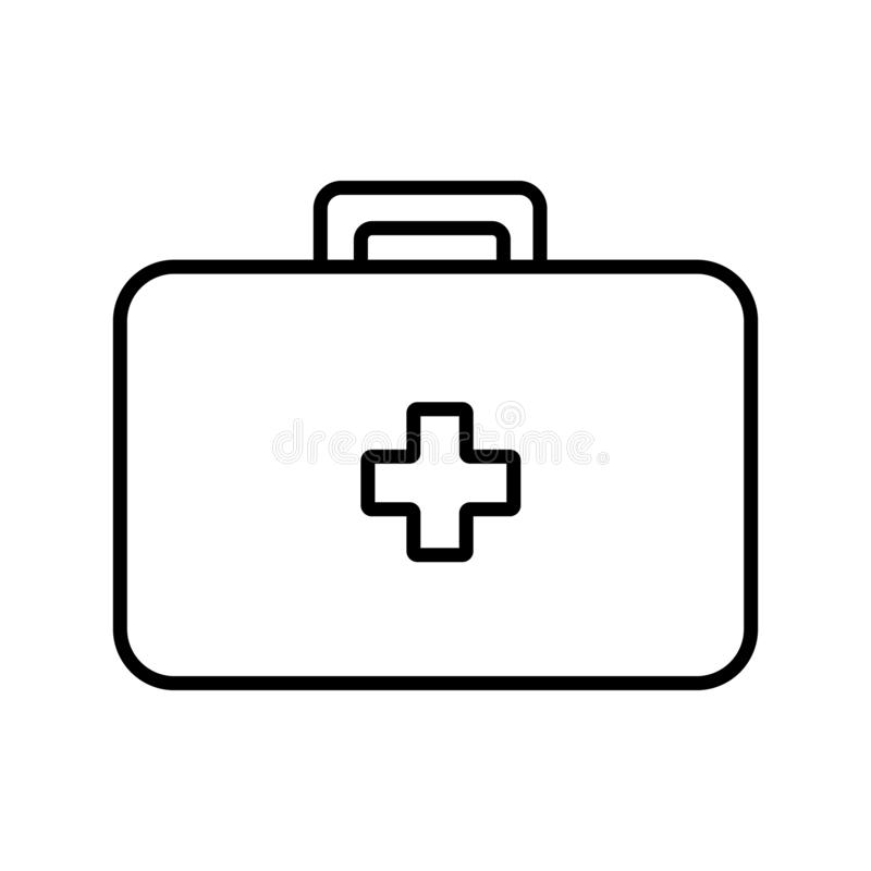 Medical rectangular first-aid kit with medicines, briefcase for first aid, simple black and white icon on a white background. stock illustration