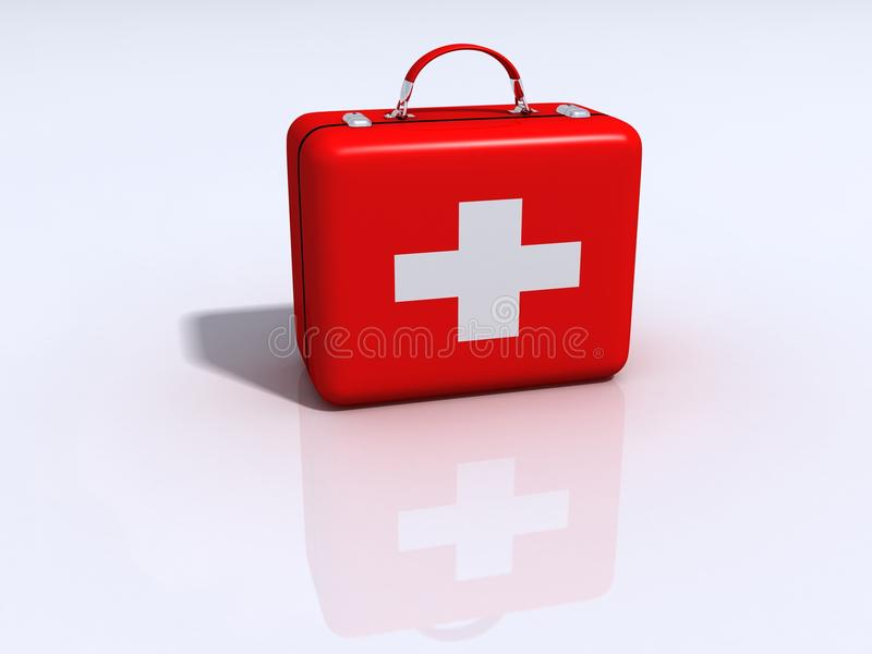 Medical red box with white cross. 3d Medical red box with white cross stock illustration