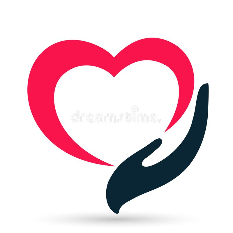 Medical red heart love clinic protect people hands life care logo design icon logo vector illustration