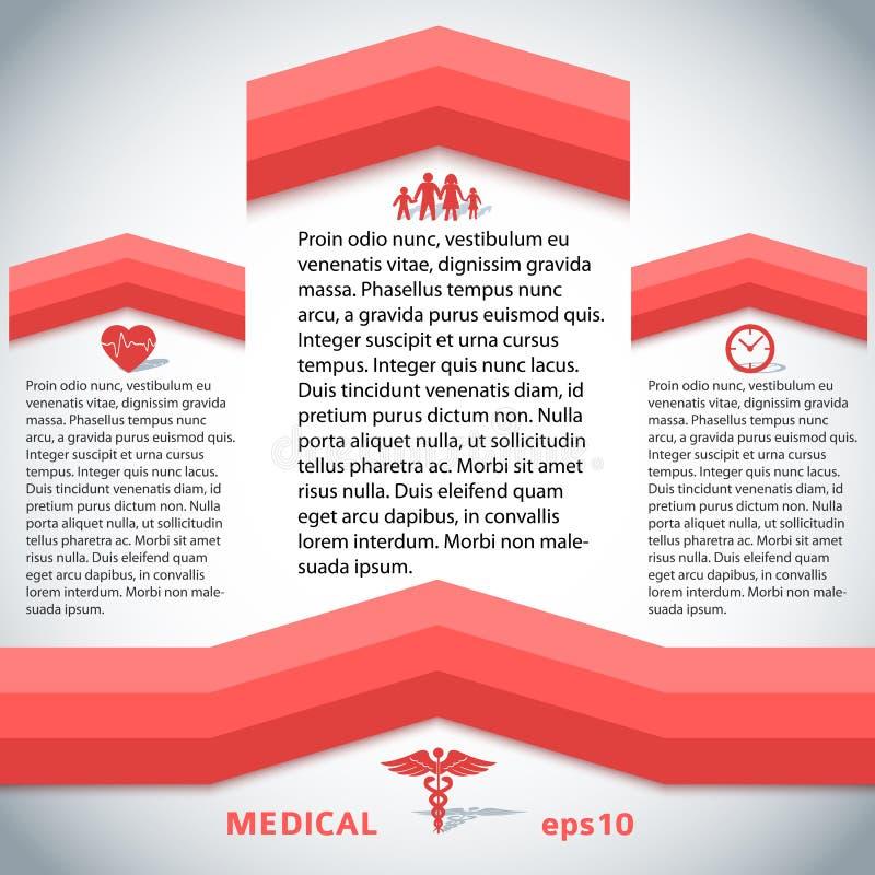 Medical-red-line-page-template-presentation vector illustration