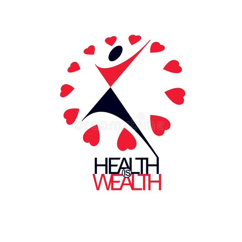 Medical rehabilitation abstract logotype, symbol. Healthy lifestyle is strong heart. Vector illustration of excited person with. Raised hands up stock illustration