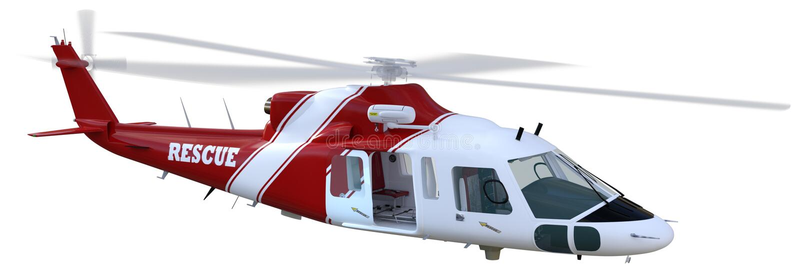 Medical Rescue Helicopter Isolated Illustration royalty free illustration