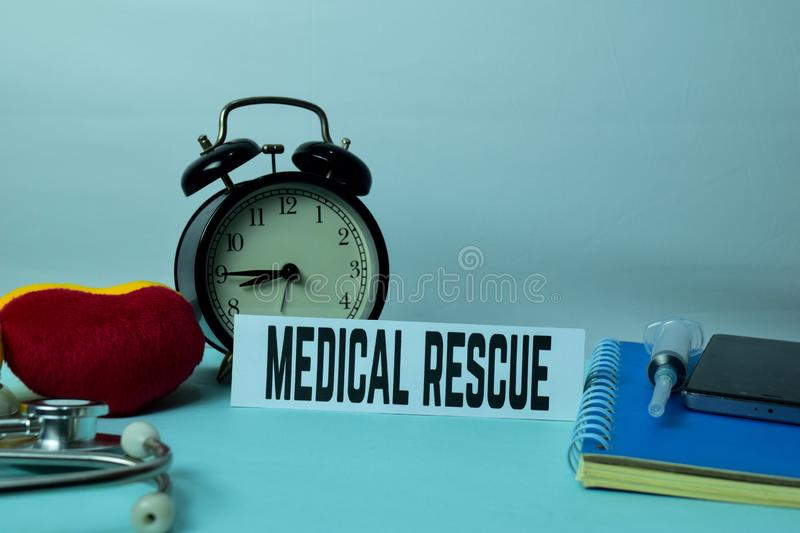 Medical Rescue Planning on Background of Working Table with Office Supplies. Medical and Healthcare Concept Planning on White Background stock photo
