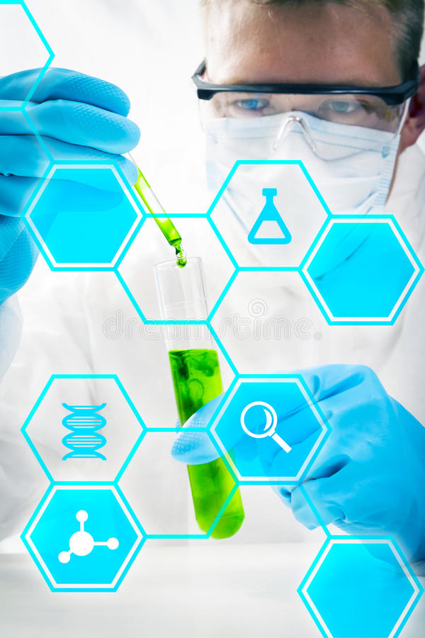 Medical research. And chemistry science stock images
