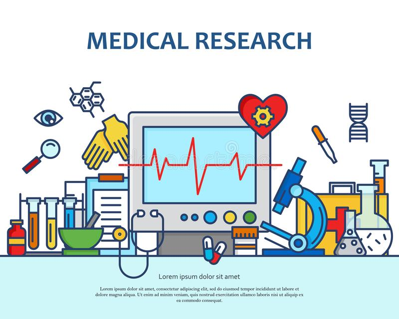 Medical research concept in modern flat line style. Diagnosis, science and a lot of medicine icons. Banner for website royalty free illustration