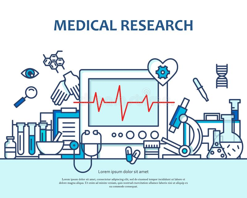 Medical research concept in modern flat line style. Diagnosis, science and a lot of medicine icons. Banner for website vector illustration