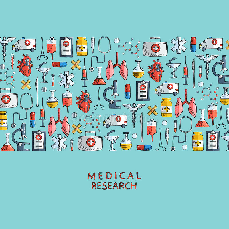 Medical research. Hand drawn health care and medicine icons. stock illustration