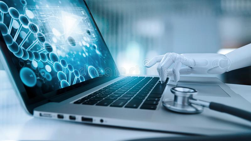 Medical robot hand touching laptop and analysis data human DNA. AI. artificial intelligence, innovation and futuristic, medical stock image
