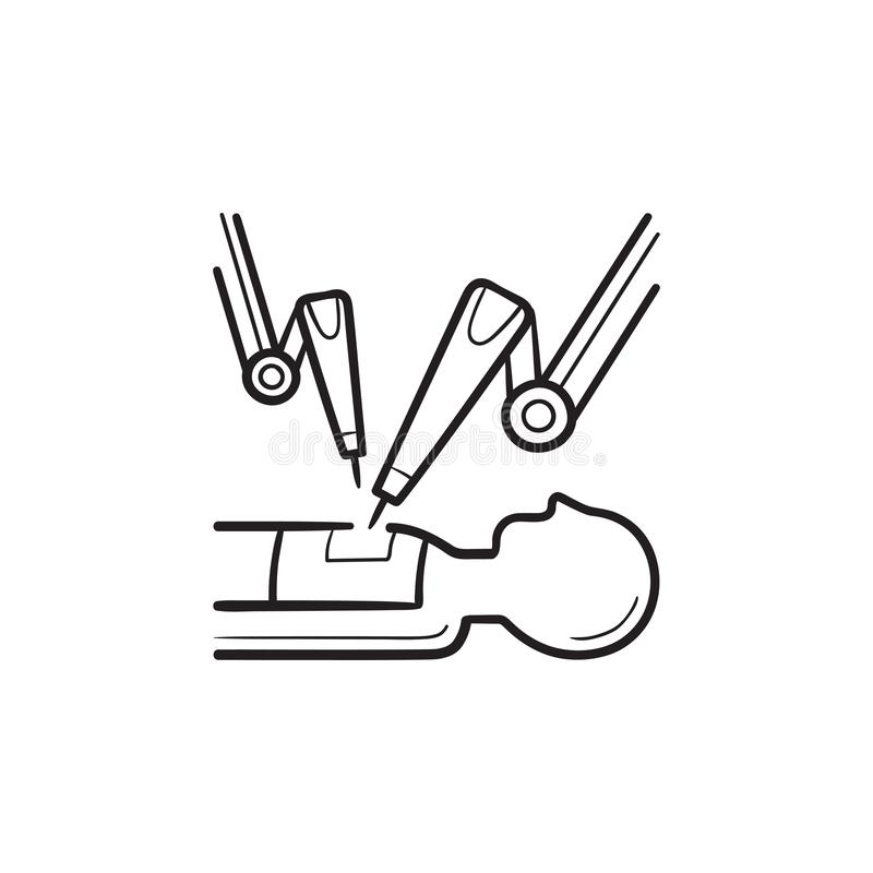 Robot-assisted surgery hand drawn outline doodle icon. stock illustration