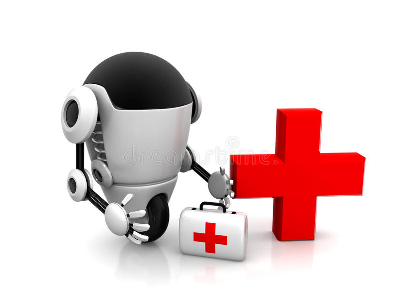 Medical robot robot with the first aid kit stock illustration