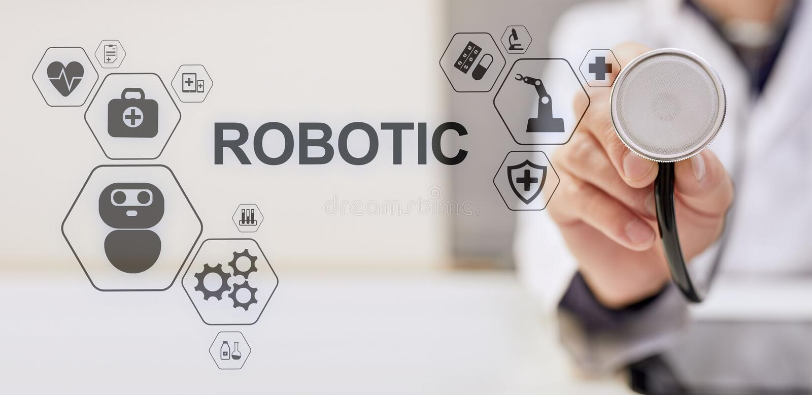 Medical robot rpa automation modern technology in medicine concept. Medical robot rpa automation modern technology in medicine concept stock photos