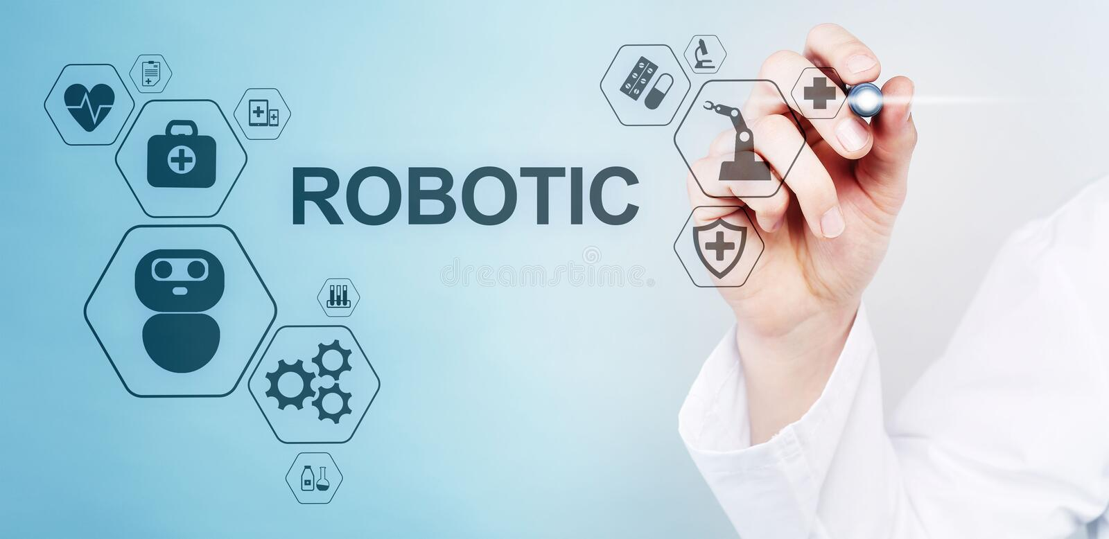 Medical robot rpa automation modern technology in medicine concept. Medical robot rpa automation modern technology in medicine concept royalty free stock photos