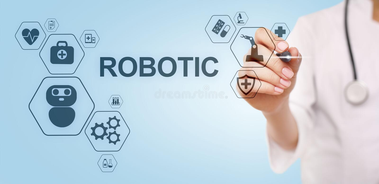 Medical robot rpa automation modern technology in medicine concept. Medical robot rpa automation modern technology in medicine concept stock photography