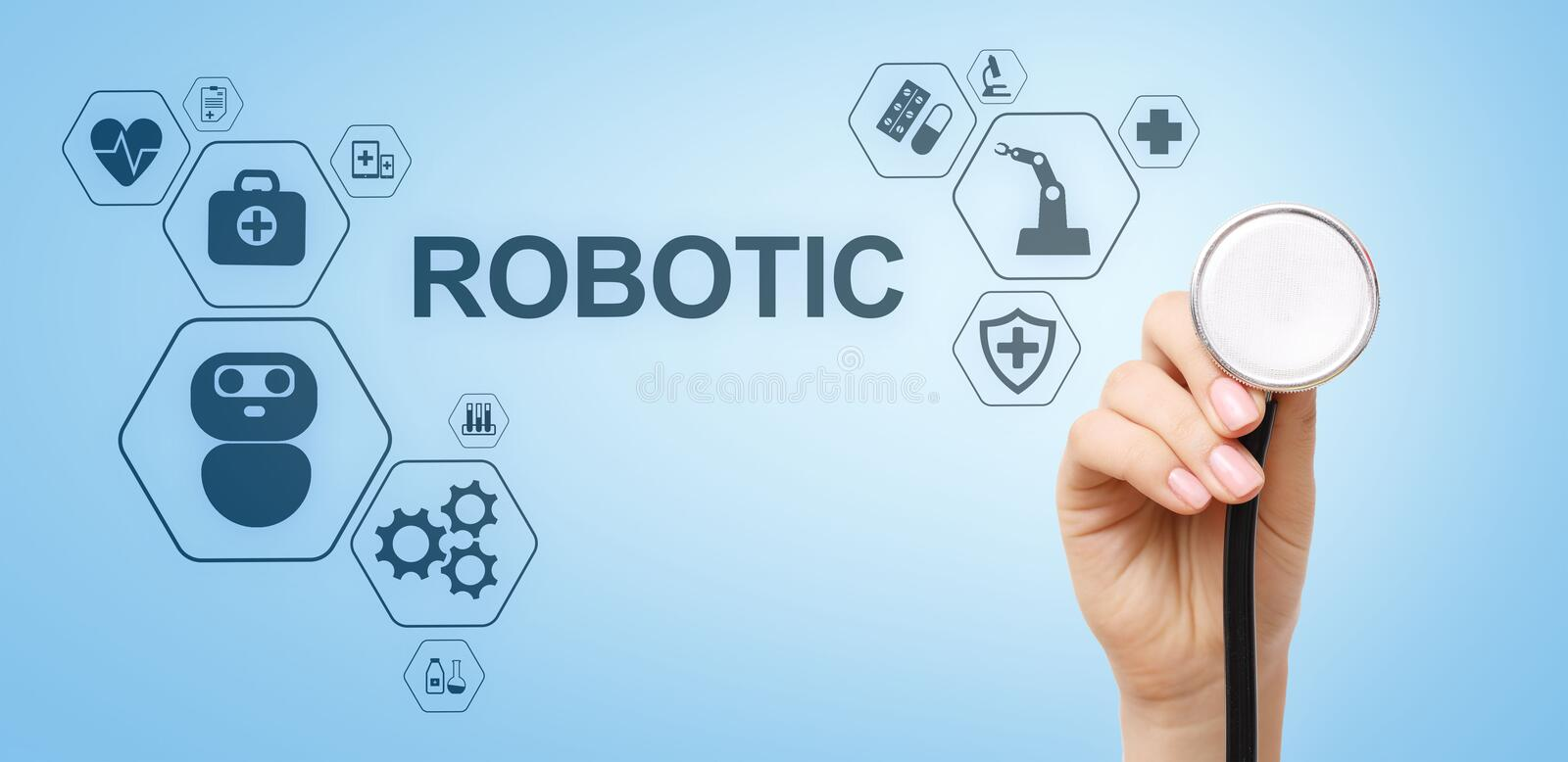 Medical robot rpa automation modern technology in medicine concept. Medical robot rpa automation modern technology in medicine concept stock image
