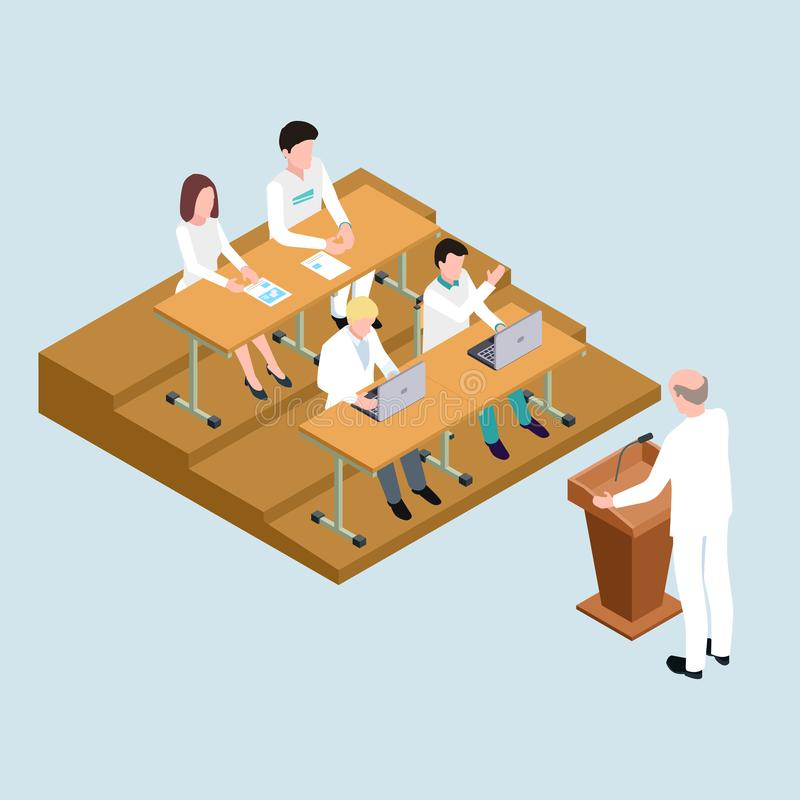 Medical school students and proffessor isometric vector illustration vector illustration