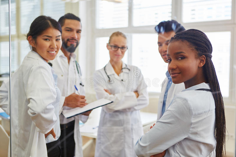 Medical school students in workshop. During apprenticeship in hospital royalty free stock image