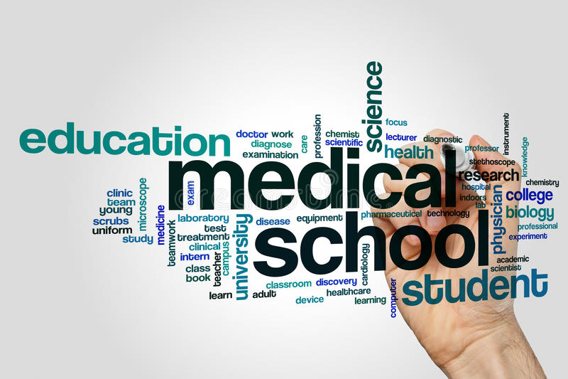 Medical school word cloud stock photography