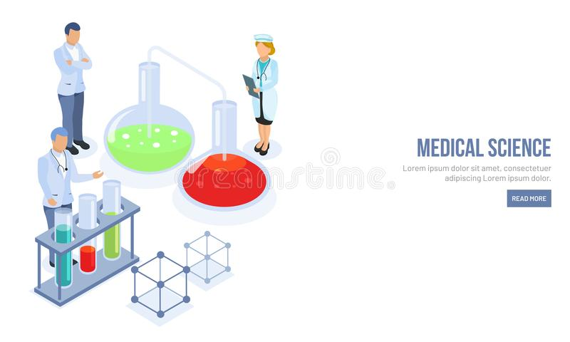 Medical Science responsive landing page design with character of royalty free illustration