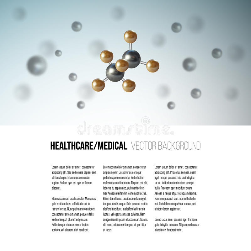 Medical scientific cell. Abstract graphic design of molecule structure, vector background for brochure, flyer or banner royalty free illustration