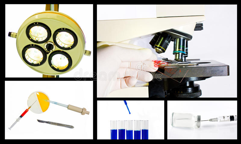 Medical scientific research collage concept royalty free stock image