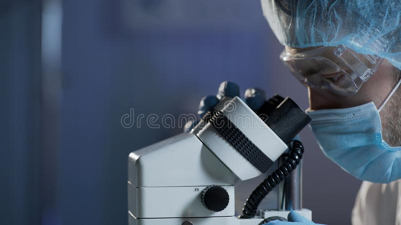 Medical scientist conducting research of blood sample for hematologic diseases. Stock video royalty free stock image