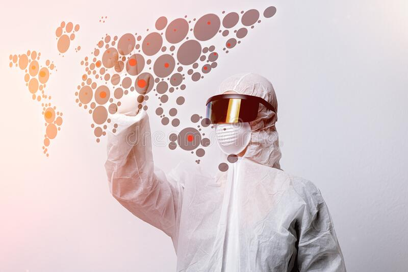 Medical scientist in VR glasses and World map with infection stock images