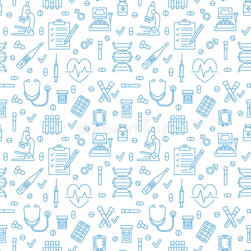 Medical seamless pattern , clinic vector illustration. Hospital thin line icons - thermometer, check up, diagnostic royalty free illustration