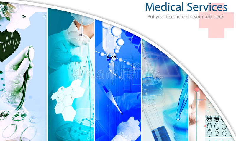 Medical services photo collage stock illustration